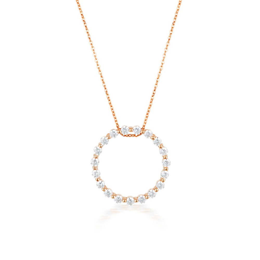 Georgini Rose Gold Plated Sterling Silver Zirconia Circle Of Life Pendant