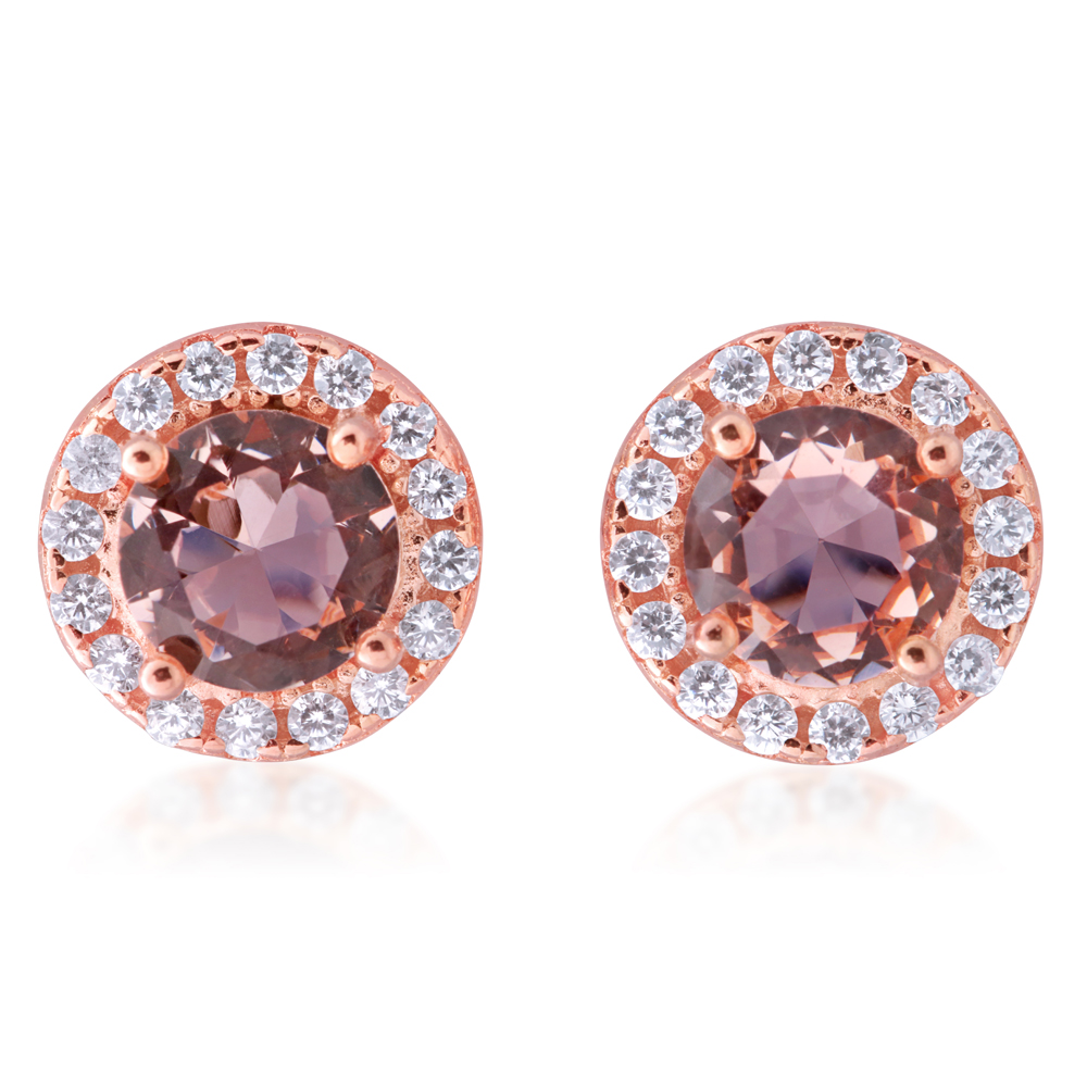 Sterling Silver Rose Plated Crystal and Zirconia Round Halo Stud Earrings