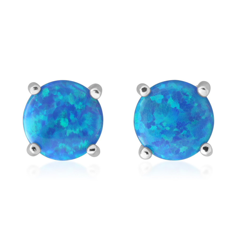 Sterling Silver 6mm Simulated 4 Claw Blue Opal Stud Earrings