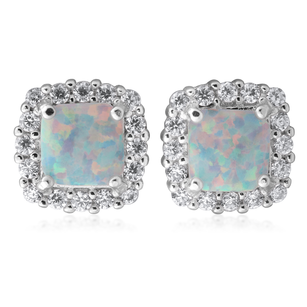 Sterling Silver 6mm Simulated Opal Square Halo Stud Earrings