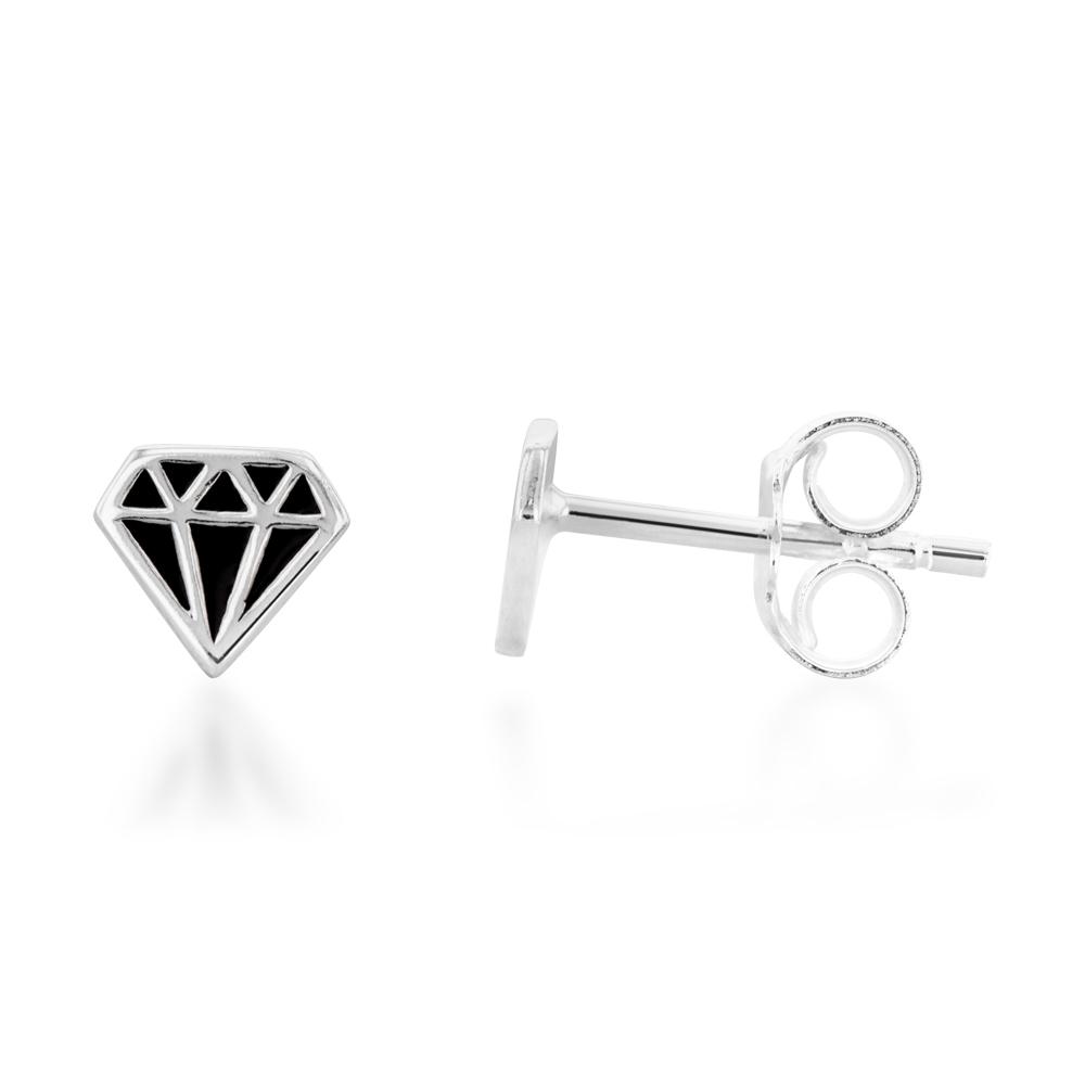 Sterling Silver Diamond Shaped Black Enamel Stud Earrings