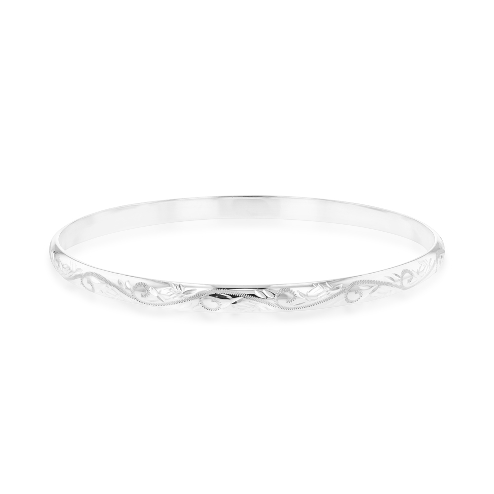 Sterling Silver 5mmx65mm Patterned Engraved Bangle