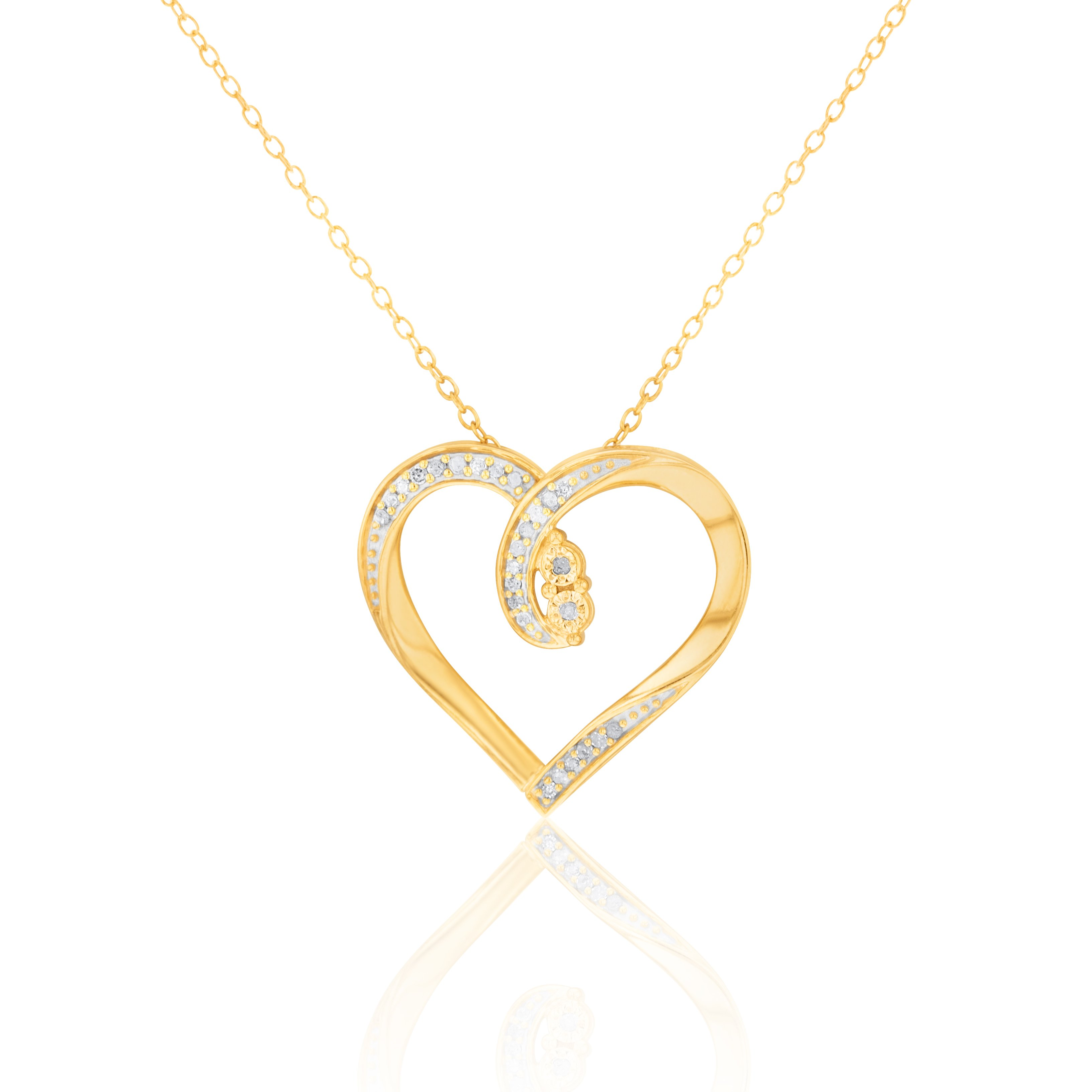 Gold Plated Sterling Silver Diamond Heart Pendant on 45cm Chain