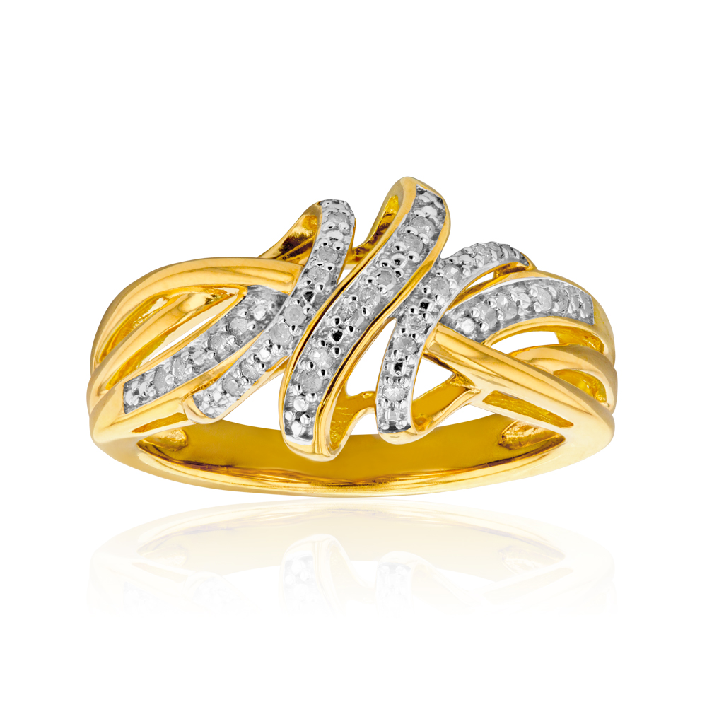 Gold Plated Silver Diamond Ring No resize