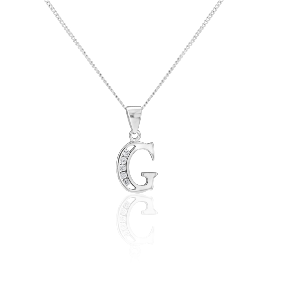 """Sterling Silver Cubic Zirconia  Initial """"G"""" Pendant"""
