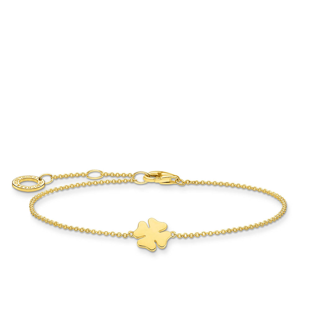 Gold Plated Sterling Silver Thomas Sabo Charm Club Clover Bracelet 16-19cm
