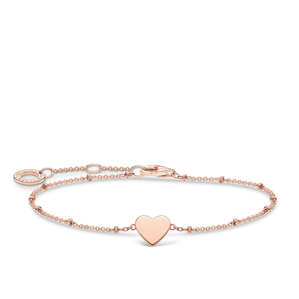 Rose Plated Sterling Silver Thomas Sabo Charm Club Hearts and Dots Bracelet 16-19cm