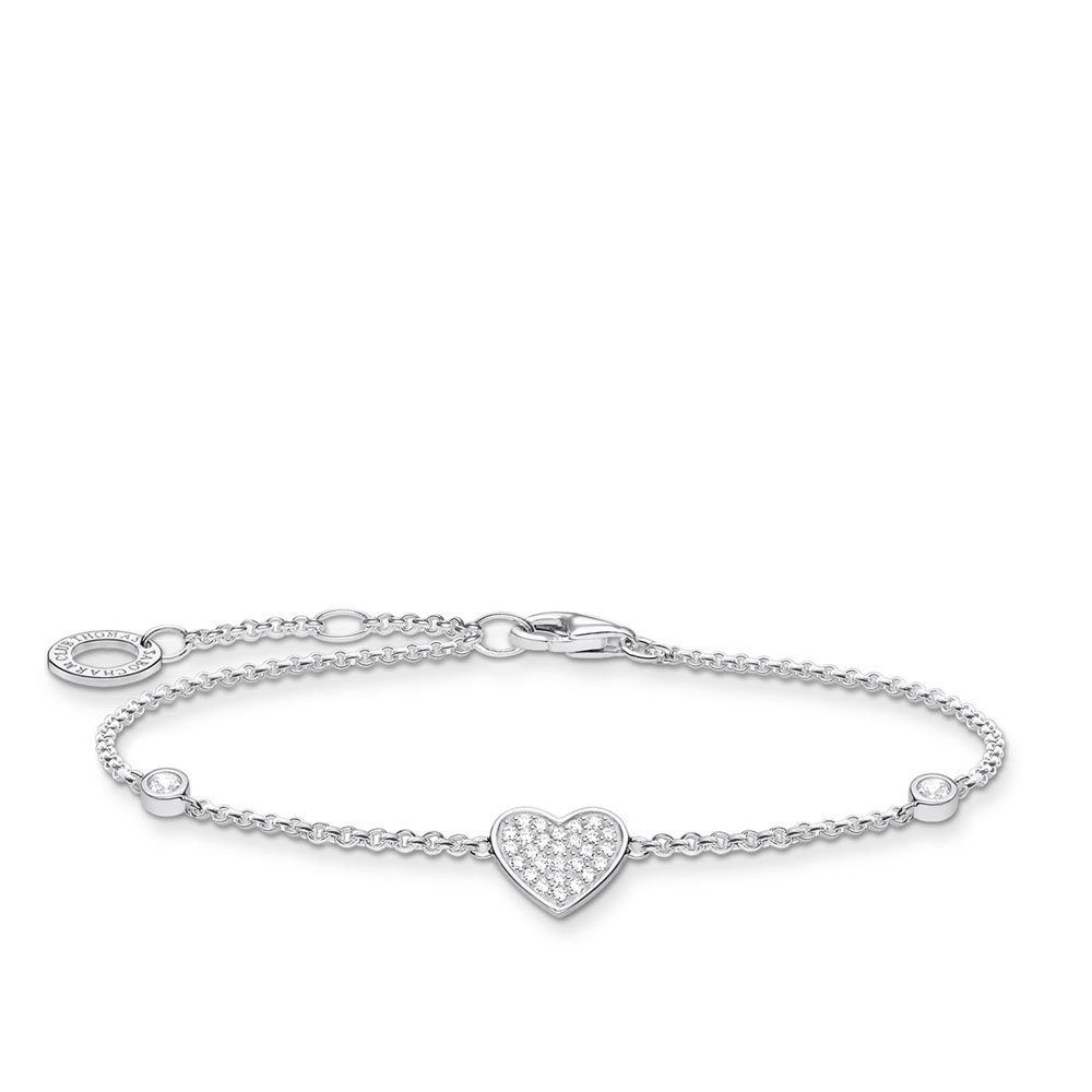 Sterling Silver Thomas Sabo Charm Club Zirconia Pave Heart Bracelet 16-19cm