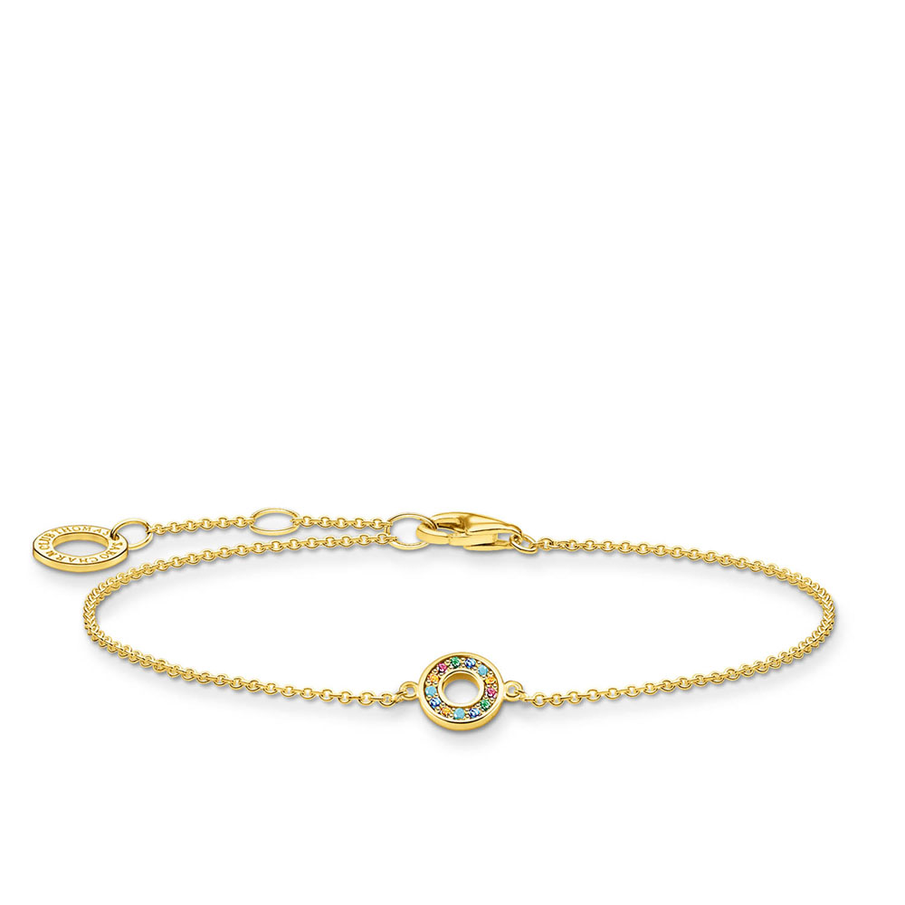 Gold Plated Sterling Silver thomas Sabo Charm Club Colour Circle Bracelet 16-19cm
