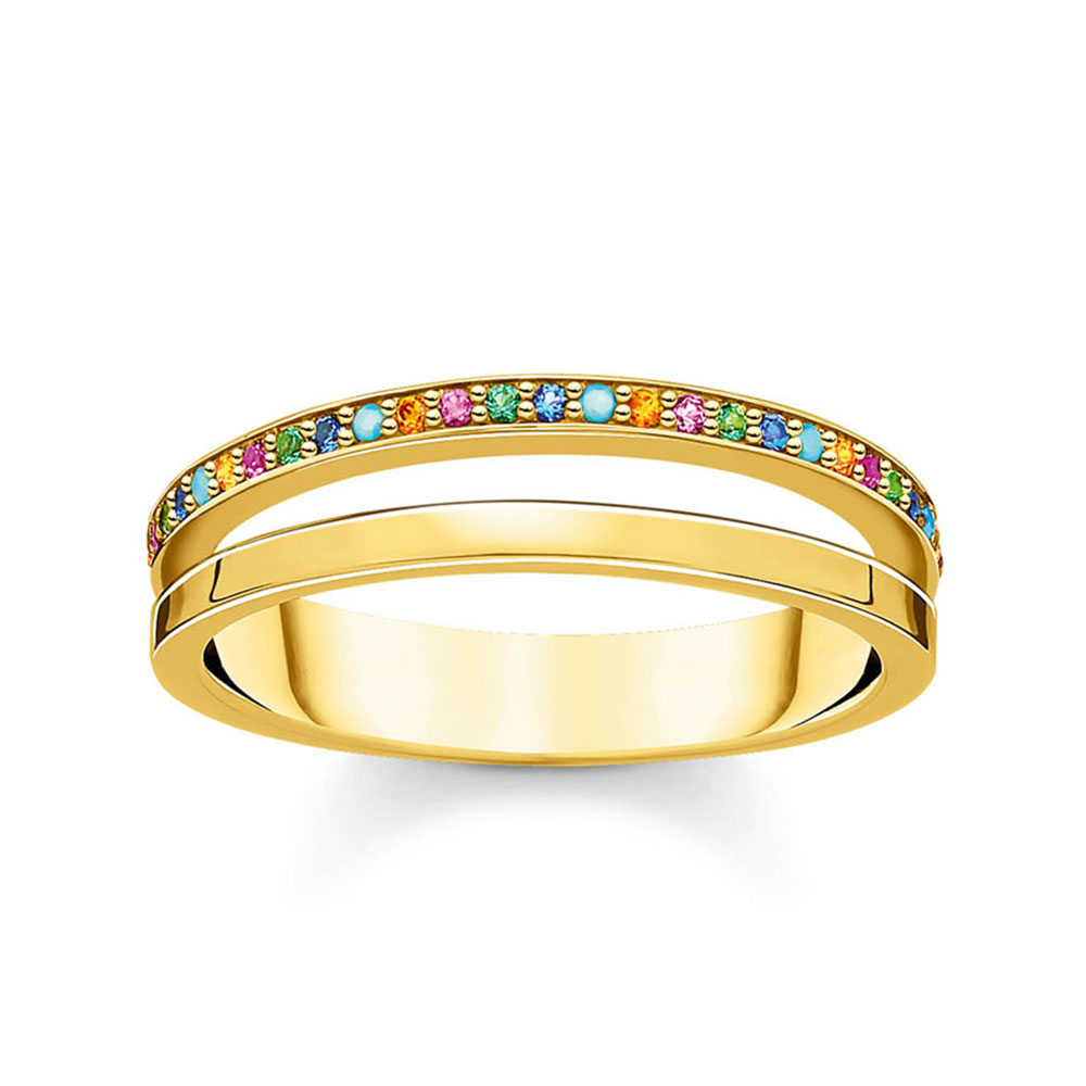 Gold Plated Sterling Silver Coloured Zirconia Double Band Ring