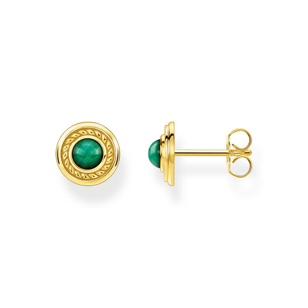 Gold Plated Sterling Silver Thomas Sabo Magic Garden Malachite Stud Earrings