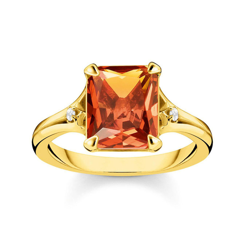 Gold Plated Sterling Silver Thomas Sabo Magic Stone Cognac Ring
