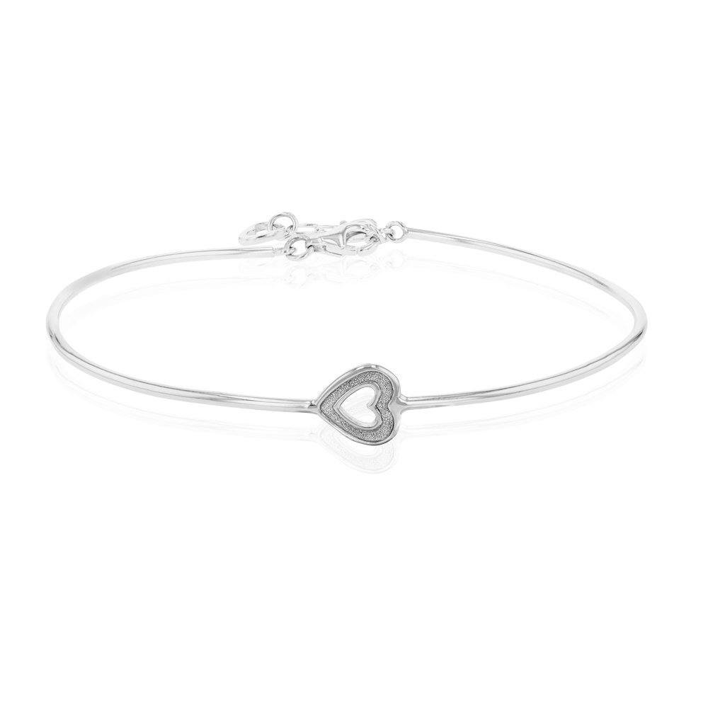 Sterling Silver Zirconia Heart Extender Bangle