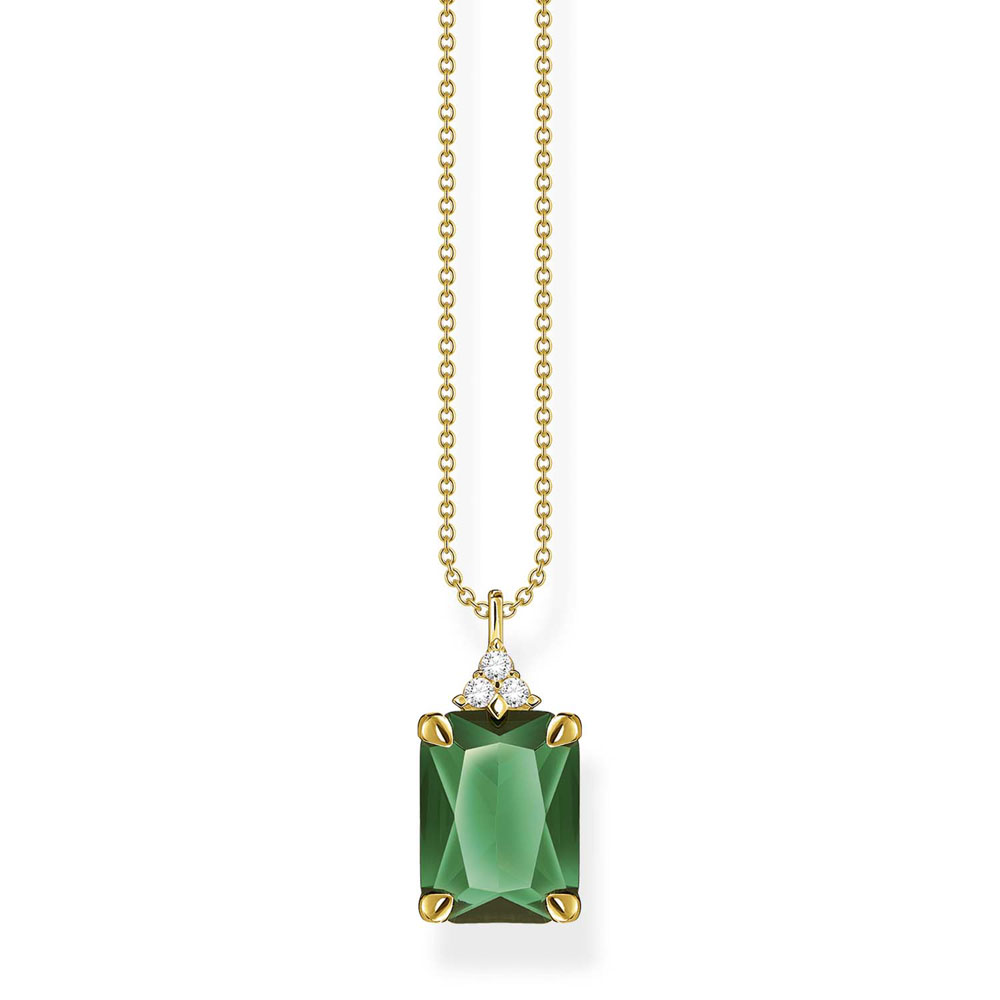 Thomas Sabo Gold Plated Sterling Silver Magic Stone Green Pendant On 40-45cm Chain