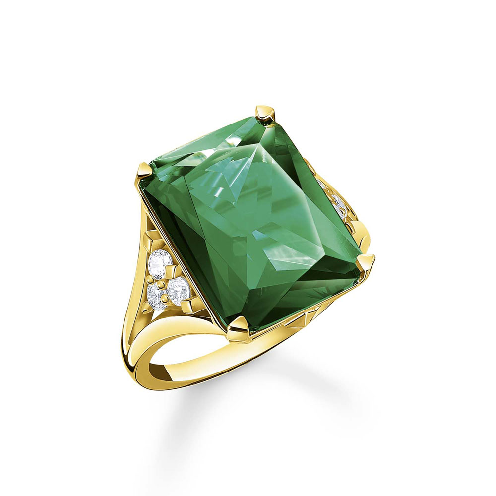 Thomas Saboo Gold Plated Sterling Silver Magic Stone Green Ring