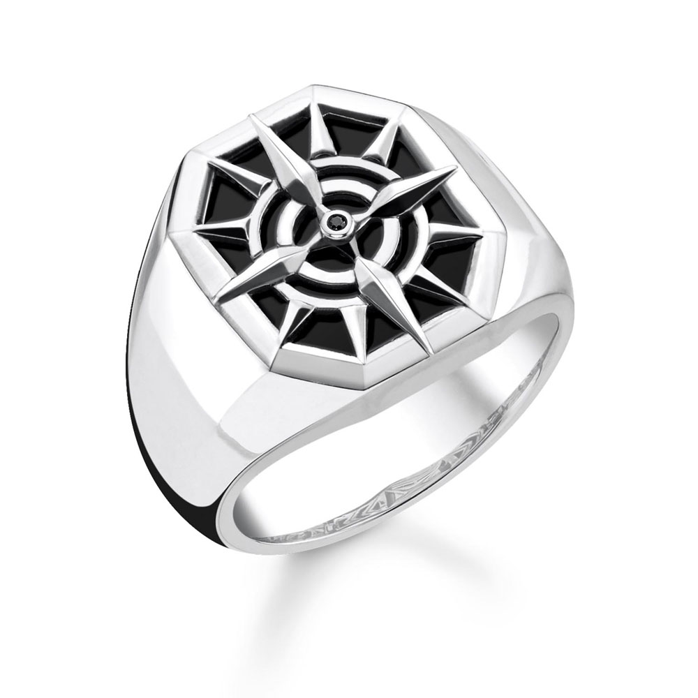 Thomas Saboo Sterling Silver Black Onyx Compass Signet Ring
