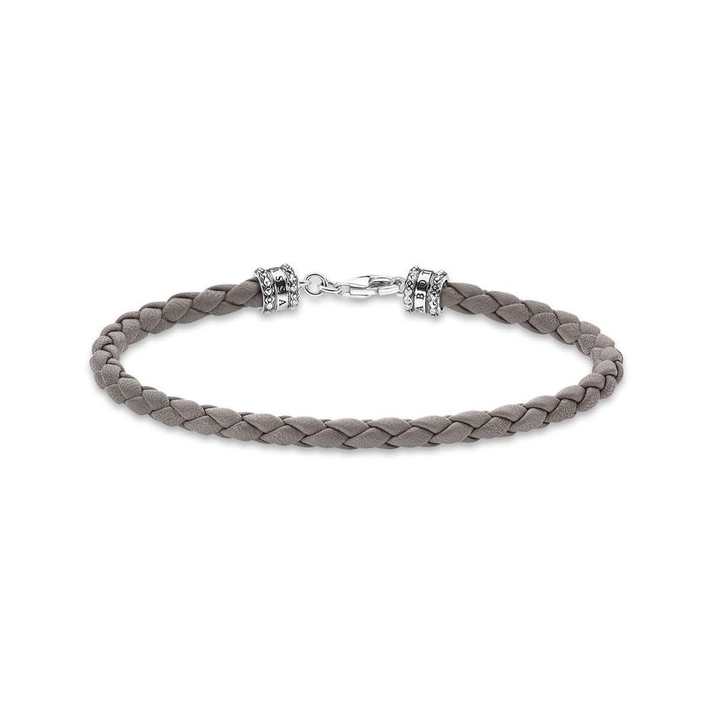 Thomas Sabo Sterling Silver Rebel Grey Braided Leather 17cm Bracelet