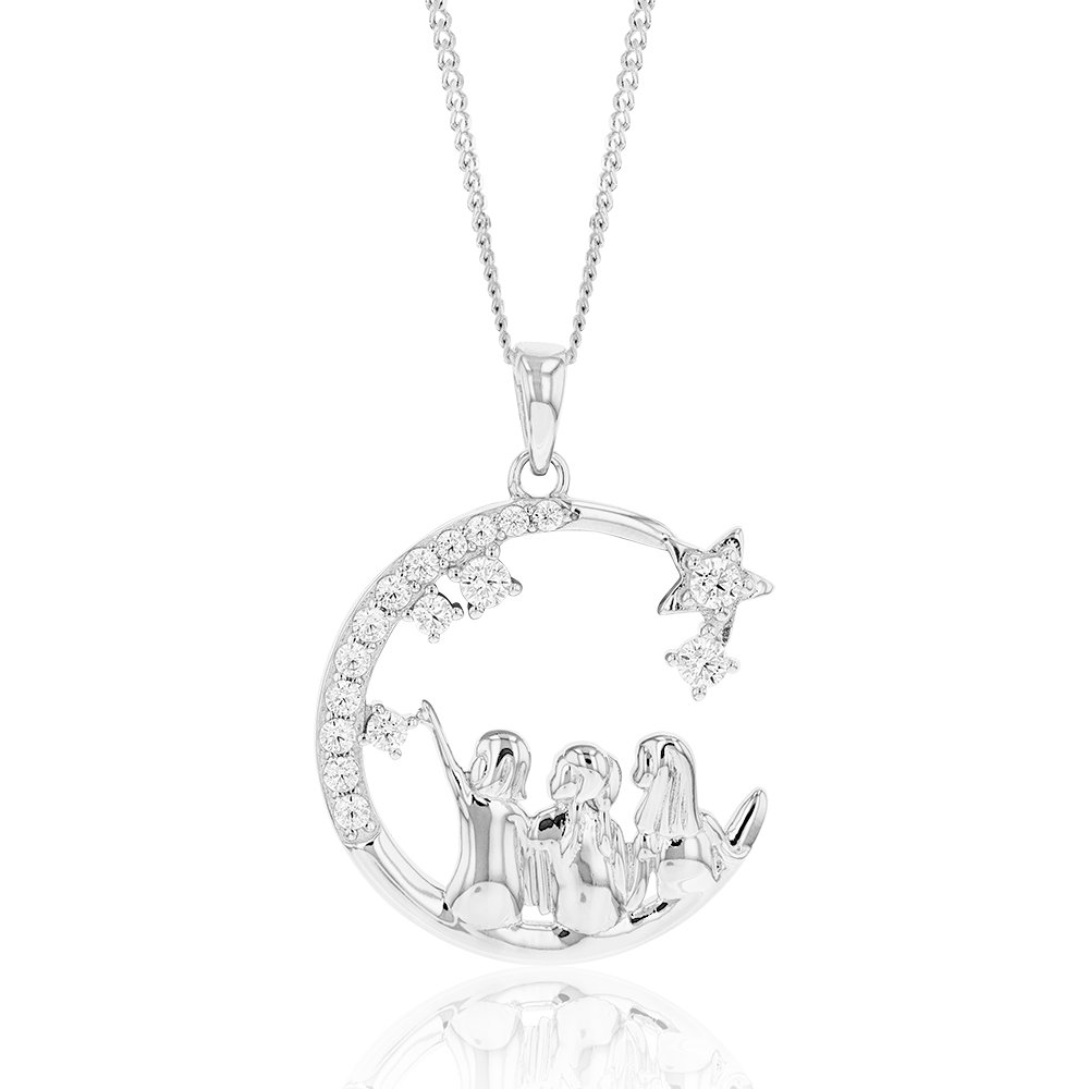 Sterling Silver And Rhodium Cubic Zirconia Half Moon With Three Sisters Pendant