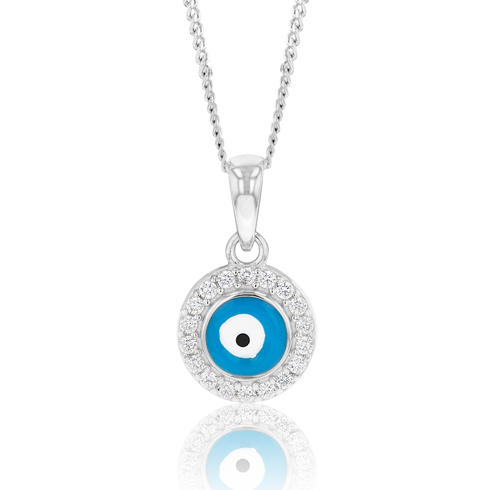 Sterling Silver Cubic Zirconia Evil Eye In Circle Pendant
