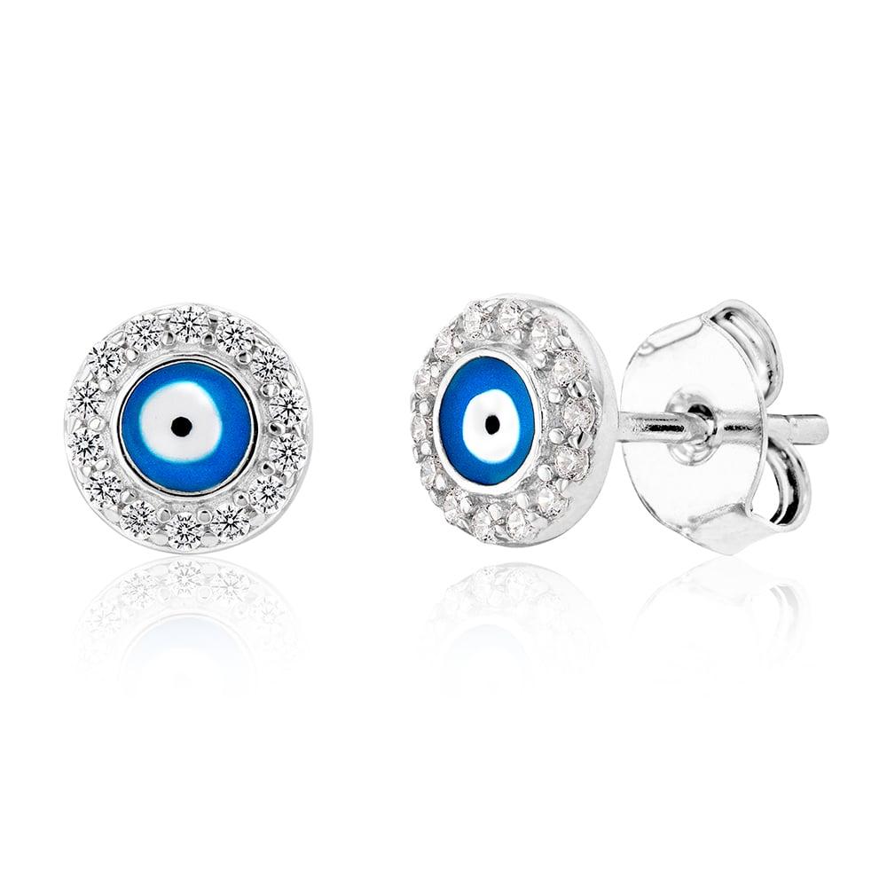 Sterling Silver Cubic Zirconia Evil Eye In Circle Stud Earrings