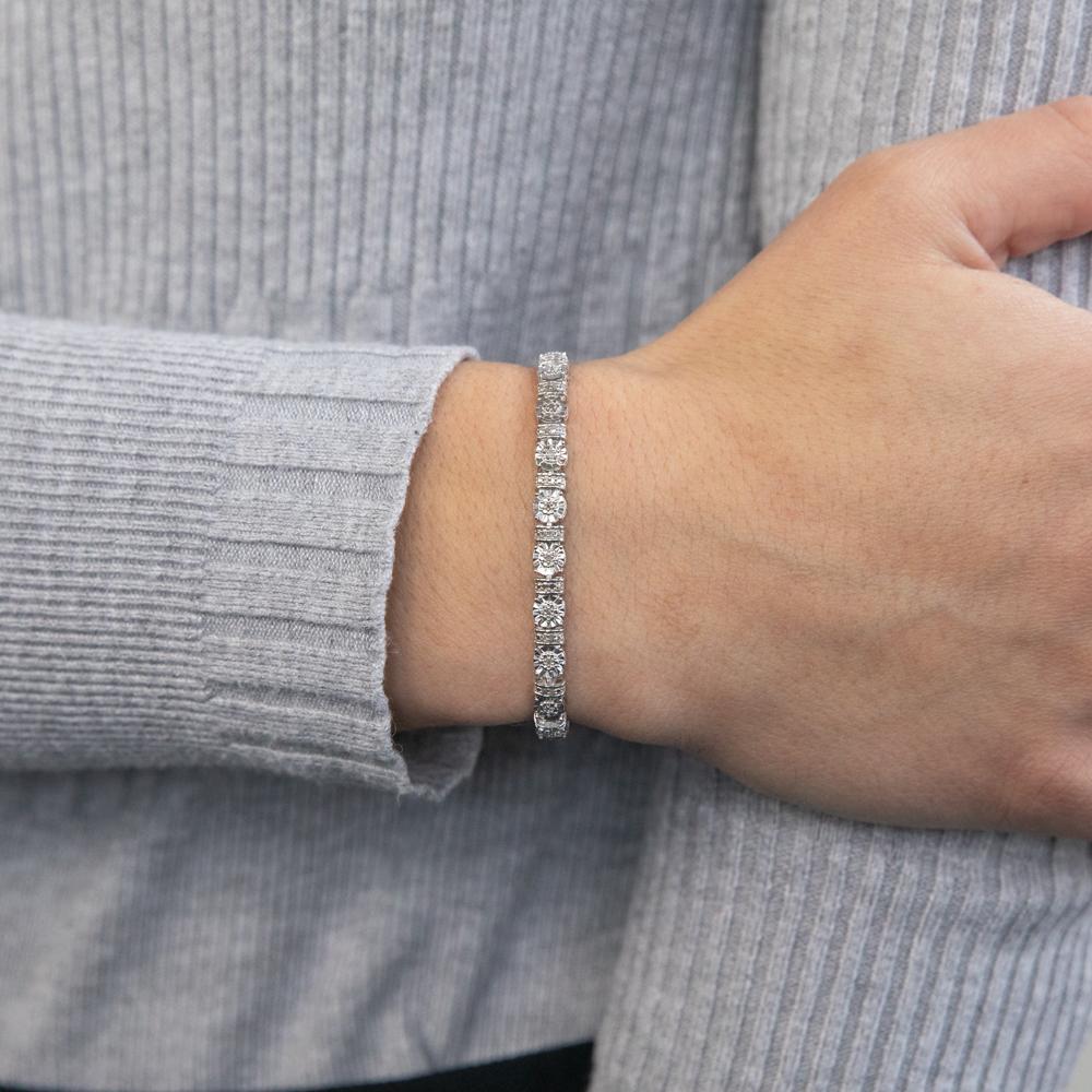 Sterling Silver 1/4 Carat Diamond Fancy 18cm Bracelet