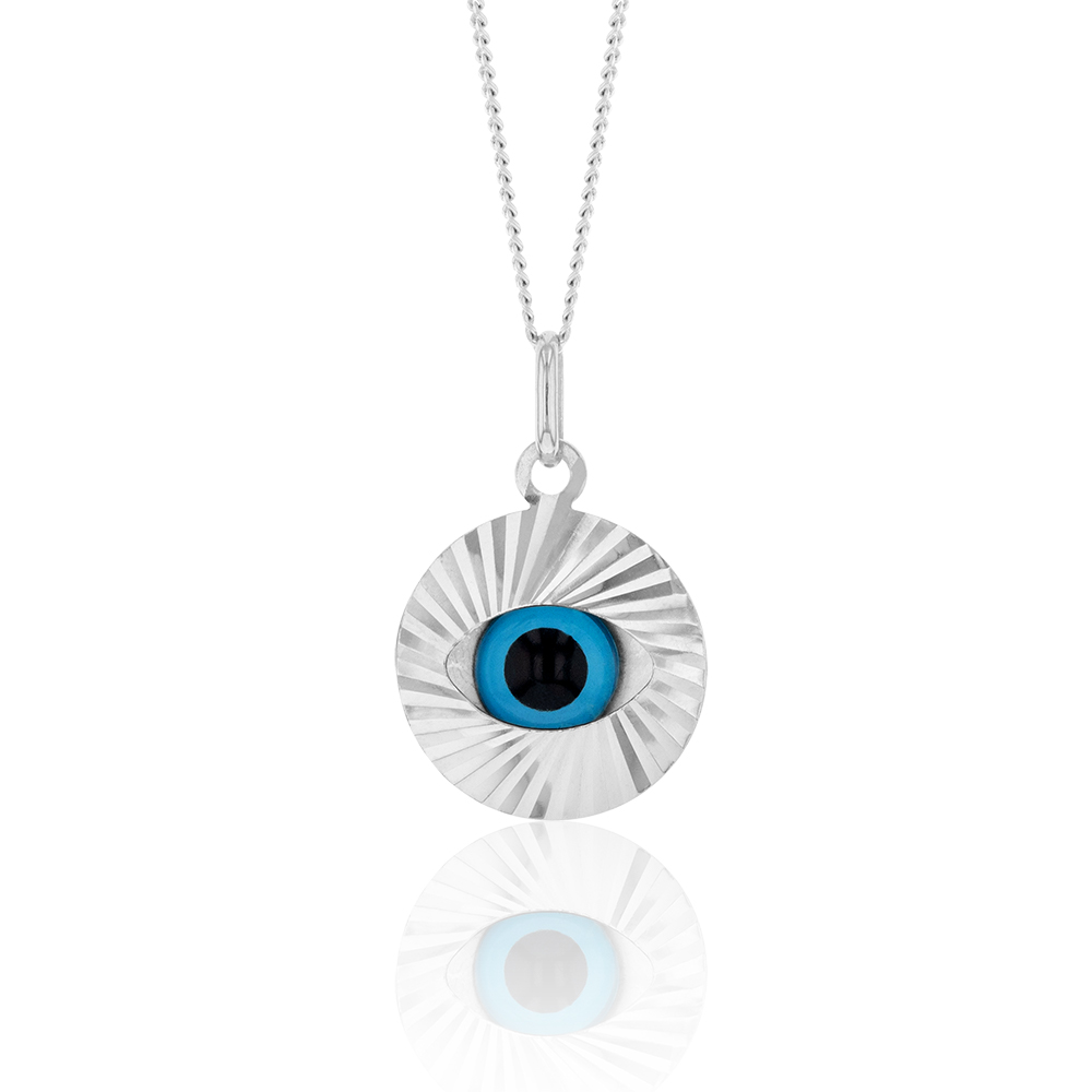 Sterling Silver Rhodium Plated Large Evil Eye Pendant