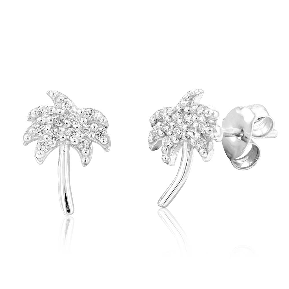 Sterling Silver Rhodium Plated White Cubic Zirconia Palm Tree Stud Earrings