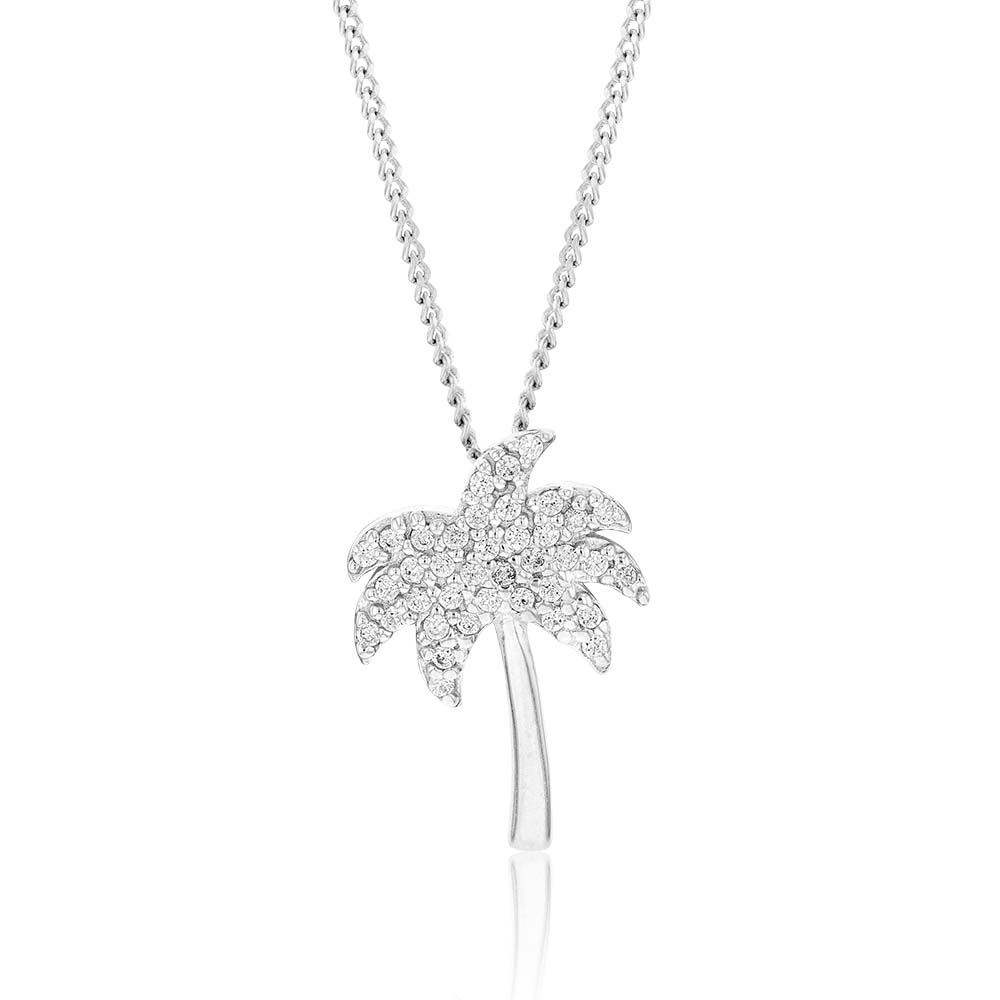 Sterling Silver Rhodium Plated White Cubic Zirconia Palm Tree Pendant