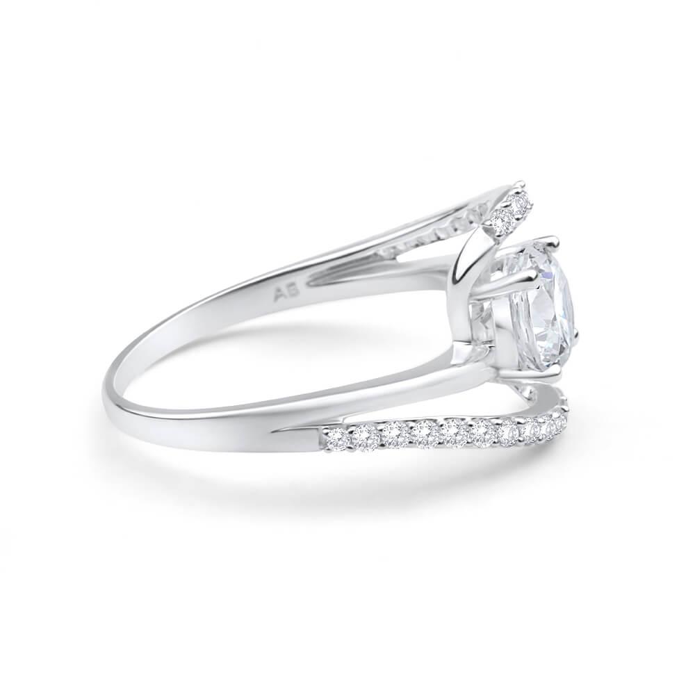 Sterling Silver Cubic Zirconia Fancy Swirl Ring