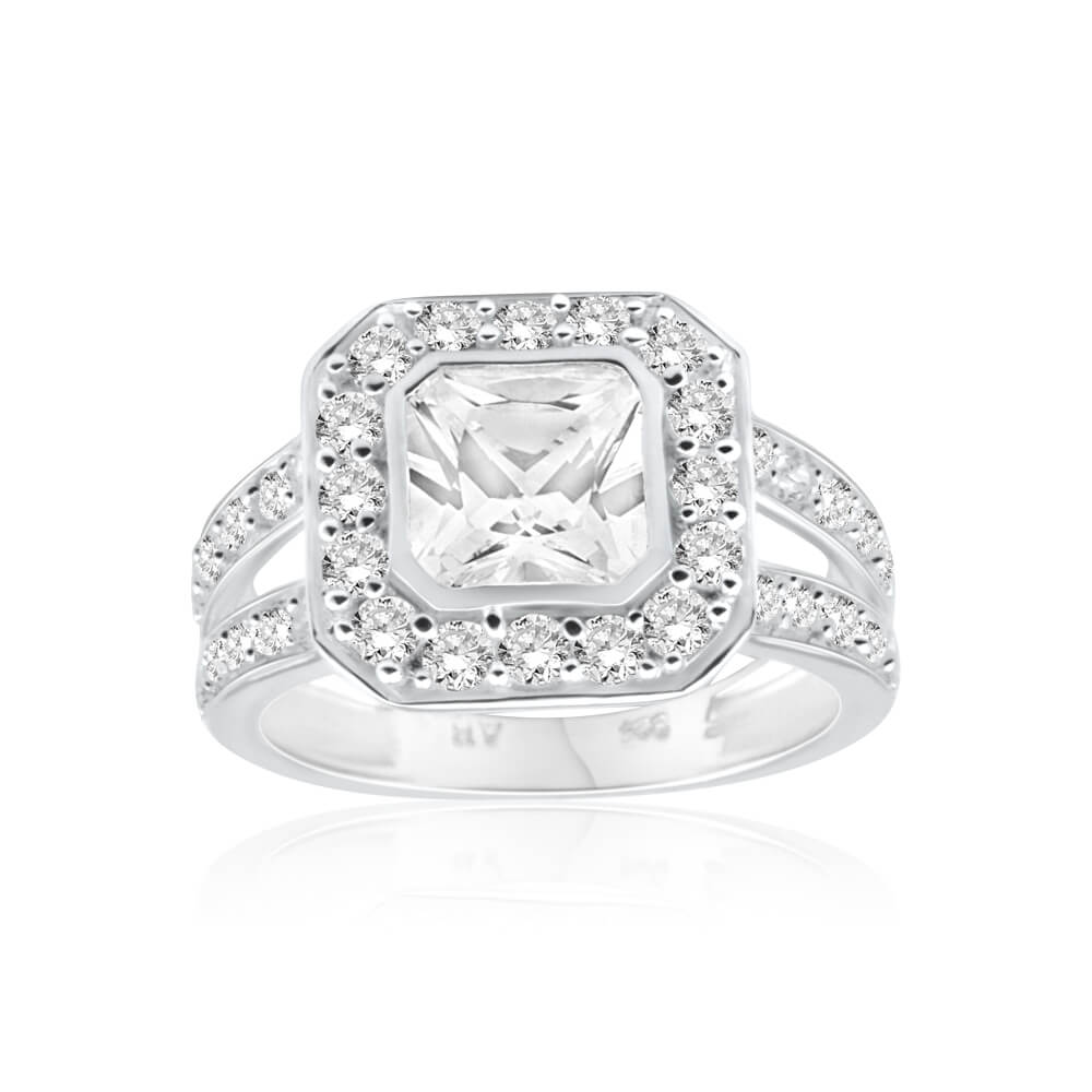 Sterling Silver Cubic Zirconia Octagon Ring