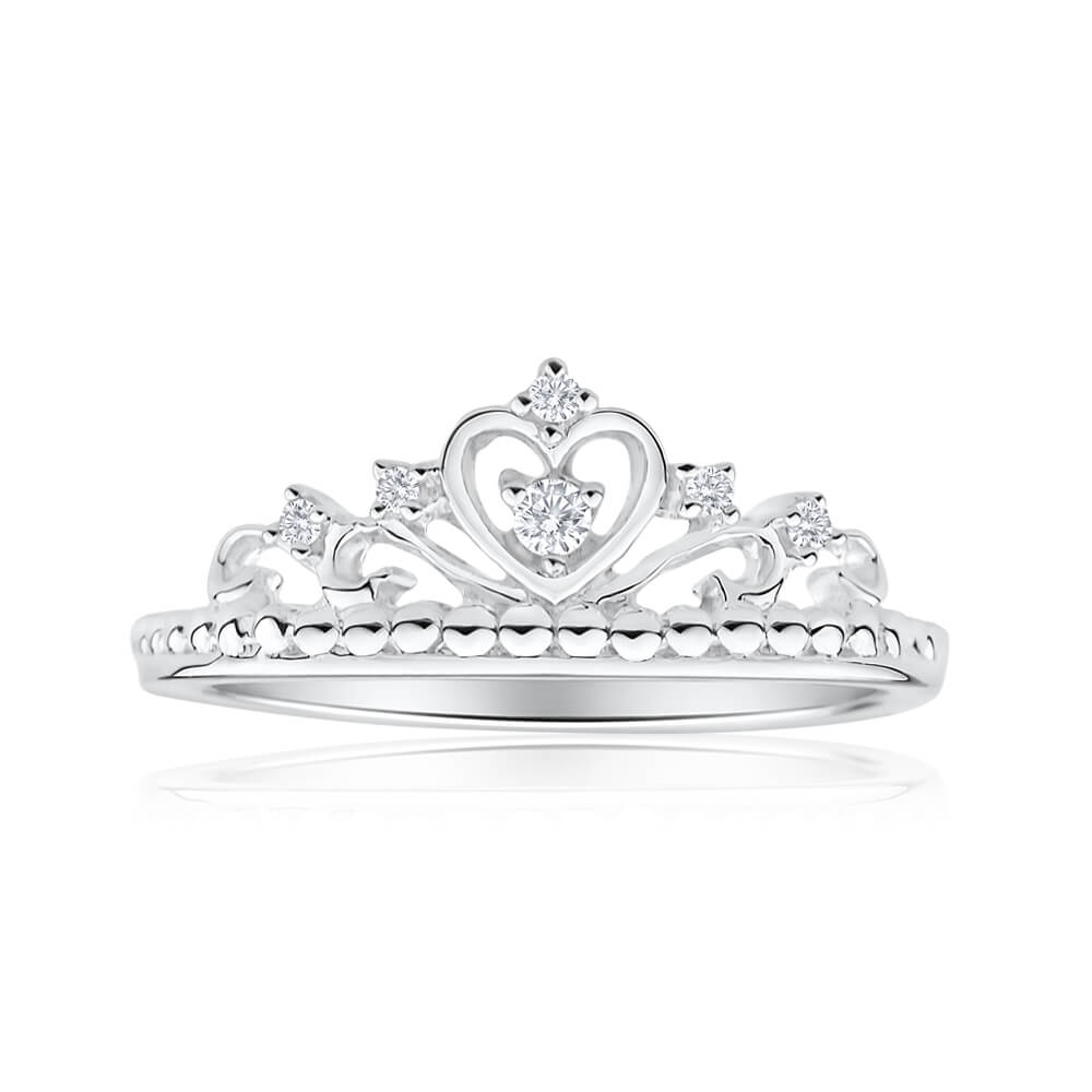 Sterling Silver Cubic Zirconia Heart Crown Ring