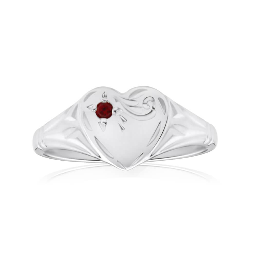 Sterling Silver Garnet Heart Signet Ring Size H