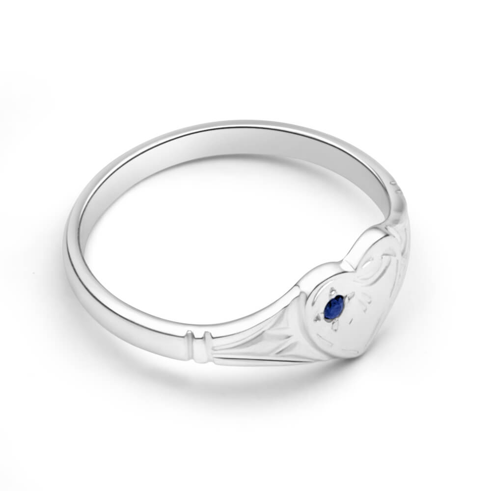 Sterling Silver Natural Sapphire Heart Signet Ring Size L