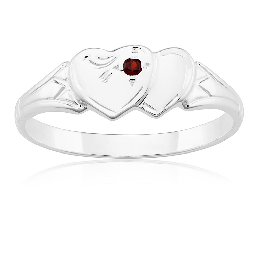 Sterling Silver Garnet 2Heart Signet Ring Size L