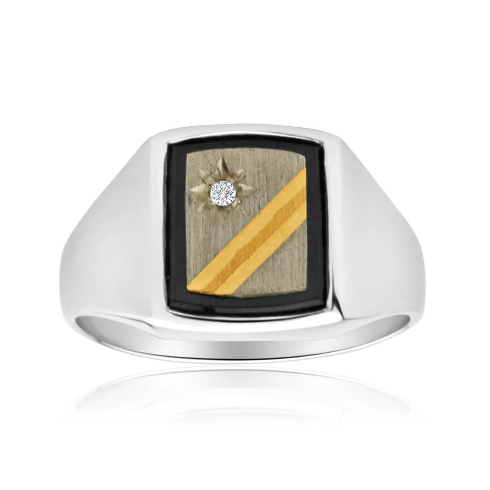 Sterling Silver Cubic Zirconia + Onyx Gents Ring
