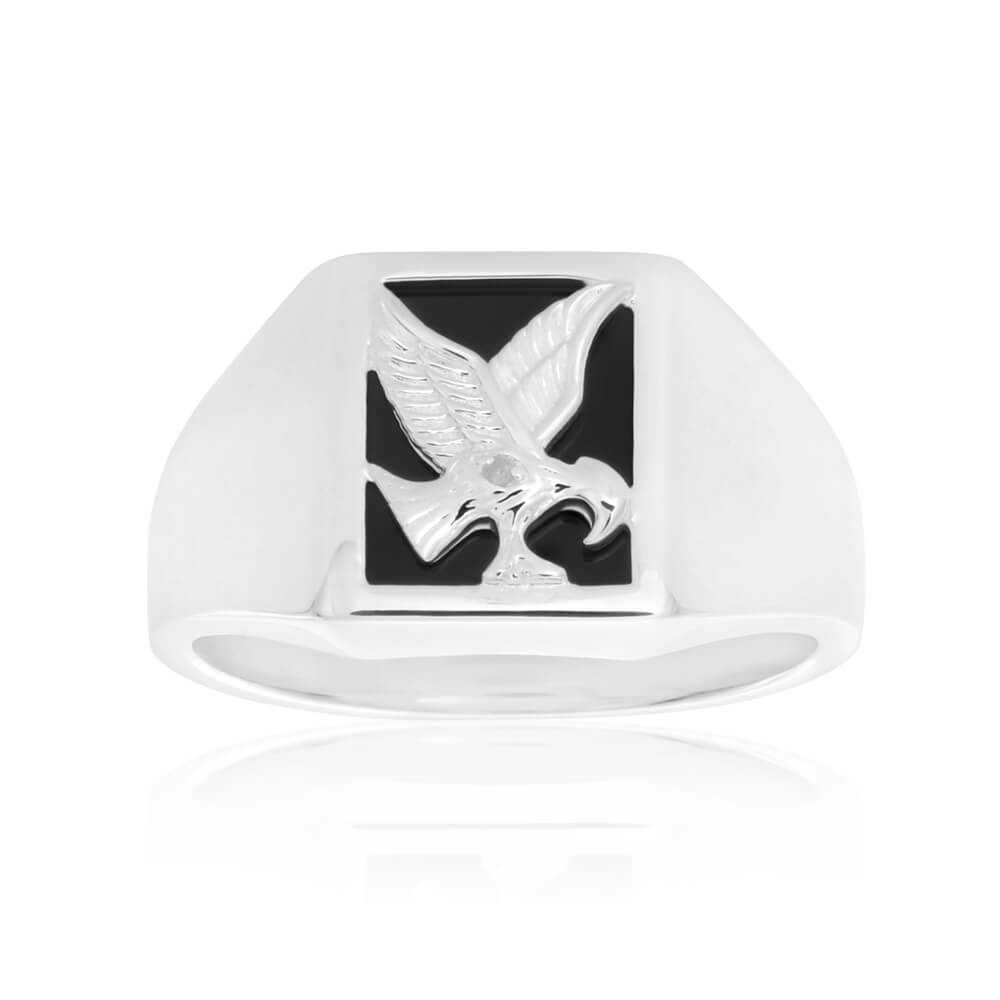 Sterling Silver Diamond + Onyx Ring