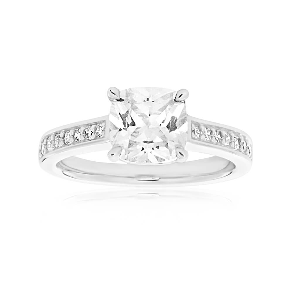 Sterling Silver Cubic Zirconia Princess Cut Channel Ring