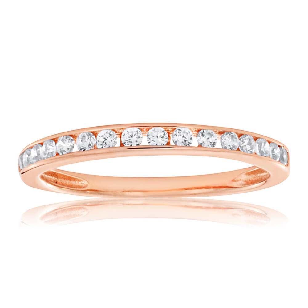 Rose Gold Plated Sterling Silver Cubic Zirconia Channel Set Ring