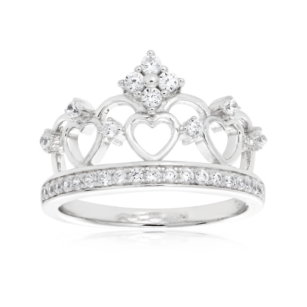 Sterling Silver Cubic Zirconia Princess Crown Ring