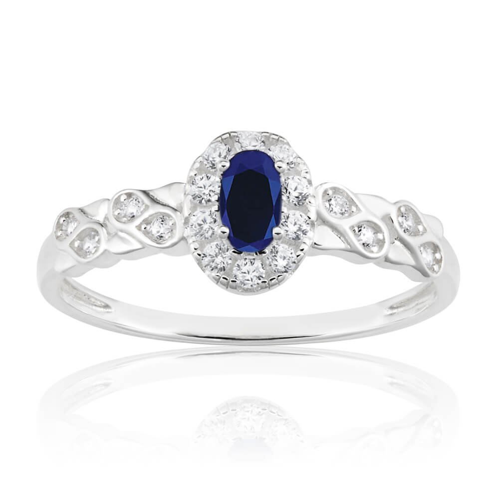 Sterling Silver Oval Cut Created Sapphire and Cubic Zirconia Ring