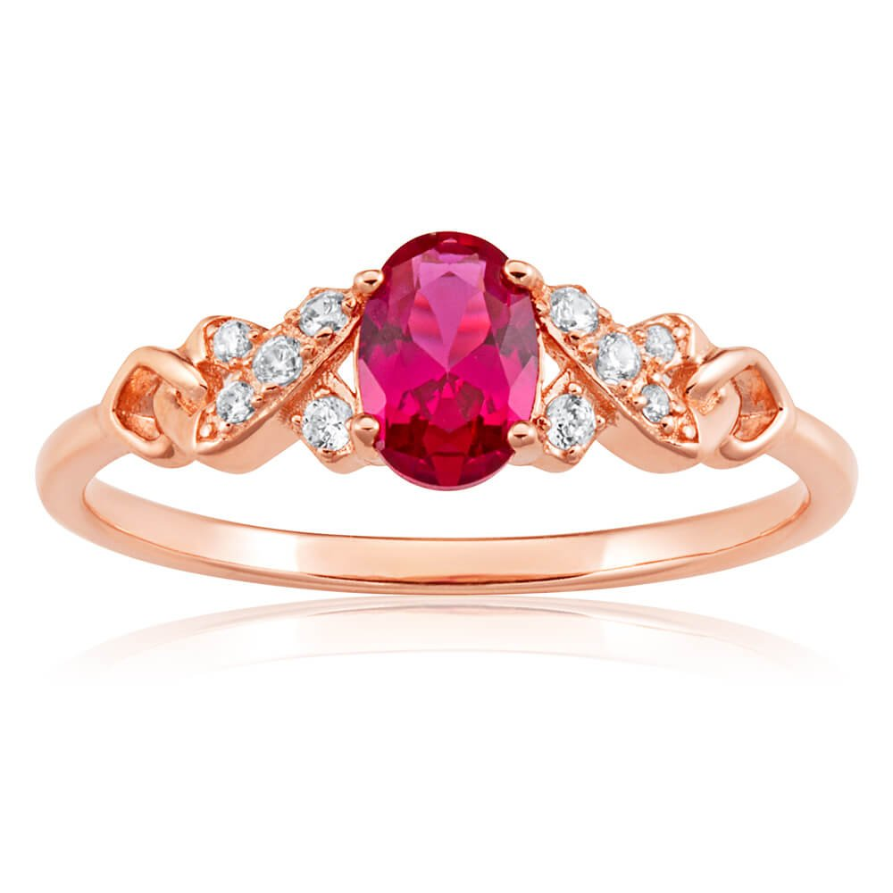 Rose Gold Plated Sterling Silver Created Ruby + Cubic Zirconia Ring