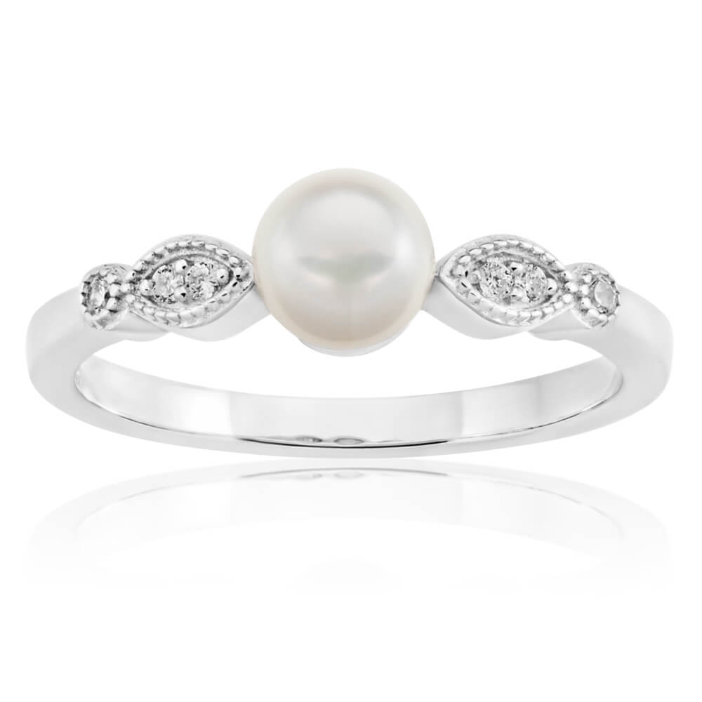 Sterling Silver Rhodium Plated Cubic Zirconia and Freshwater Pearl Ring
