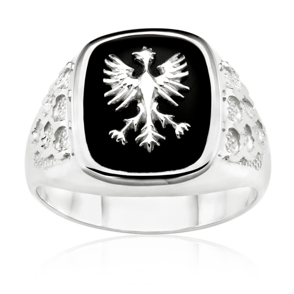 Sterling Silver Eagle Onyx Gents Ring