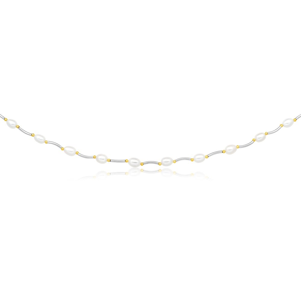 Cream Freshwater Pearl Oval Bar & Ball Necklace