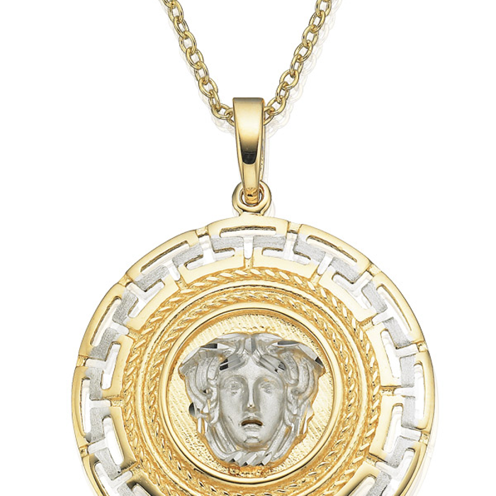 9ct yellow gold white gold key of life medusa pendant 10005636 chain aloadofball Gallery