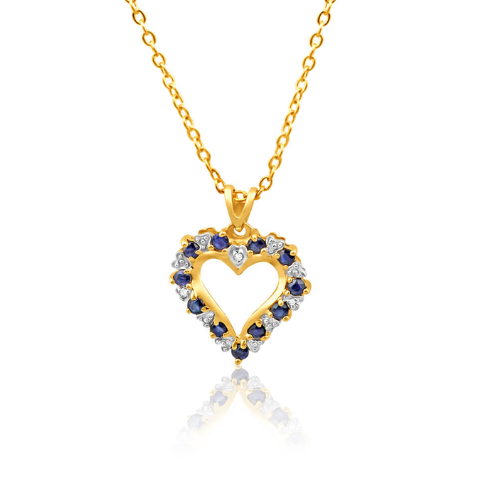 9ct yellow gold diamond natural sapphire pendant 10175280 home 9ct yellow gold diamond natural sapphire pendant image add to wish list aloadofball Choice Image