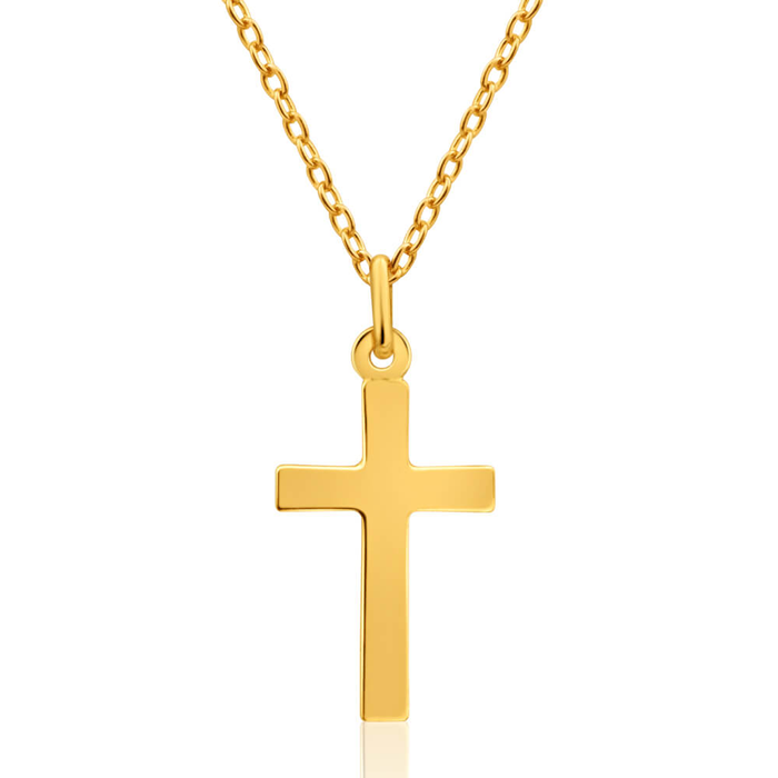 18ct yellow gold plain cross pendant 10253048 jewellery shiels plain cross pendant image aloadofball Image collections