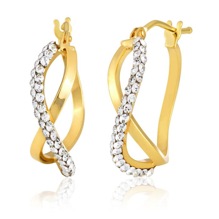 43752ce9c 9ct Yellow Gold Infinity Crystal Hoops Earrings (10254360) - Jewellery |  Shiels Jewellers