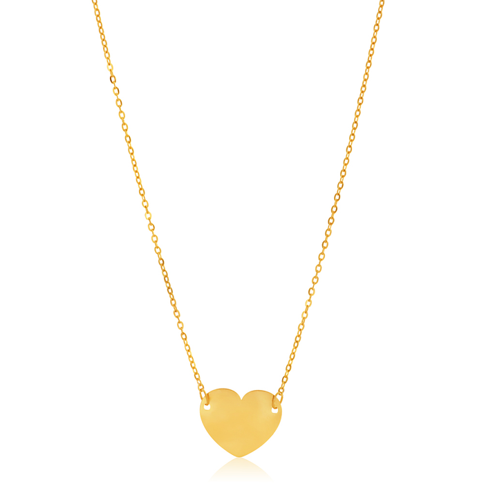9ct Gold Necklace 42cm small plain heart on chain sGxVk