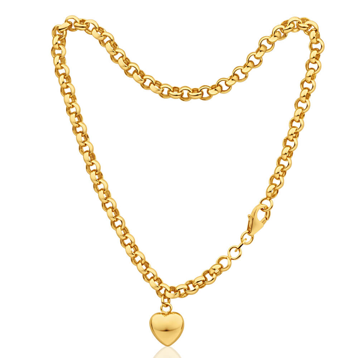 a heart anklet drop yellow curb filled silver image gold